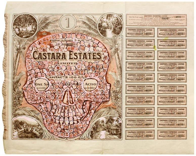 HEW LOCKE  Castara Estates, 2012  Acrylic ink on old certificates  15 11/16 x 18 15/16 x 1 9/16 in 39.8 x 48.1 x 4.1 cm