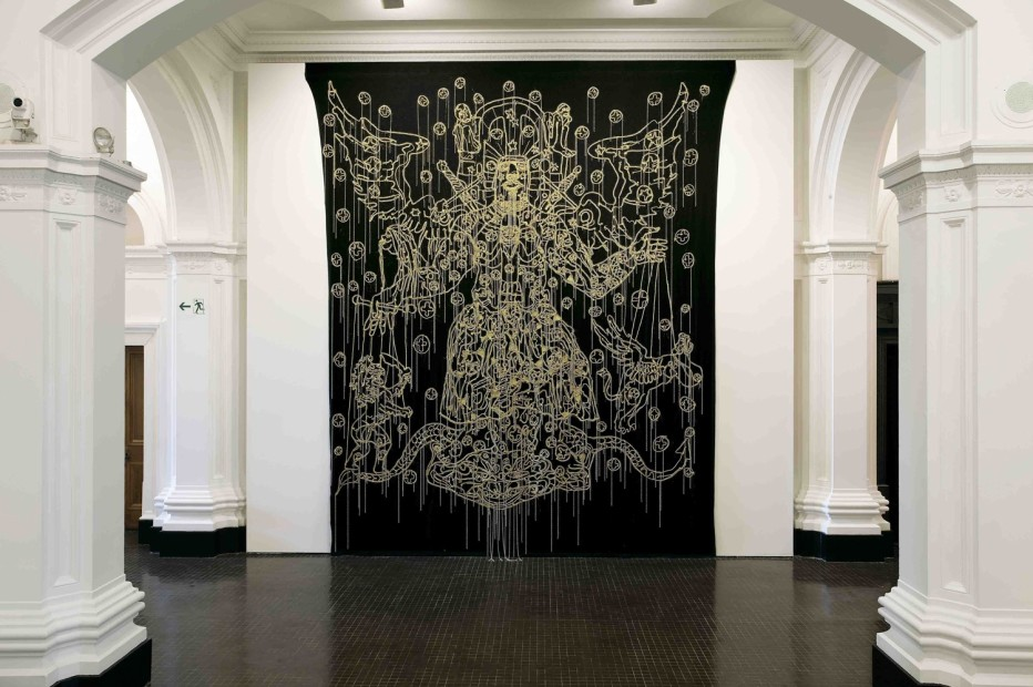 HEW LOCKE Chariots of the Gods, 2009 embroidered cloth with applied beads and cord 480 x 375 cm 189 x 147 5/8 in