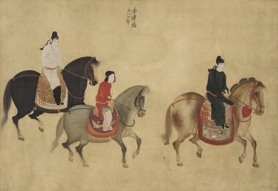 Li Jin 李津, Lady Guoguo on a Spring Outing 虢国夫人游春图, 1982