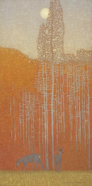 Autumn Evening with Deer, oil on linen over panel, a commission by David Grossmann