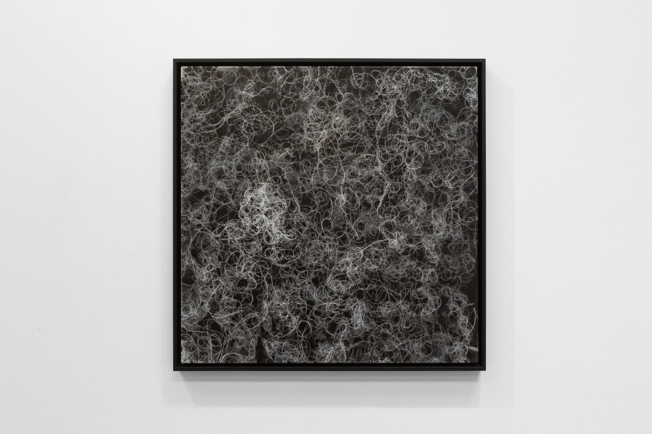 Nadia Kaabi-Linke, Negative of Black Hair on White Ground, 2018