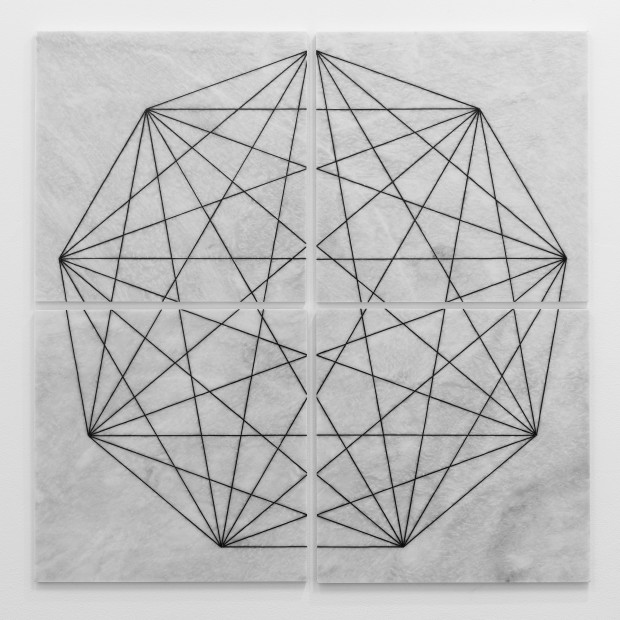 Hamra Abbas Construction Drawing 1 (Triangle), 2019 Marble inlaid with granite 121.9 x 121.9 cm 48 x 48 in Series