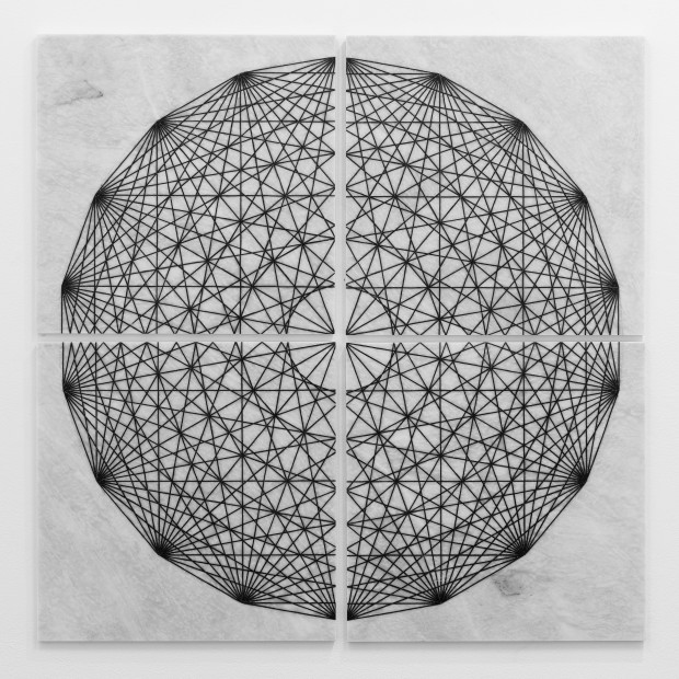 Hamra Abbas Construction Drawing 1 (Hexagon), 2019 Marble inlaid with granite 121.9 x 121.9 cm 48 x 48 in Series
