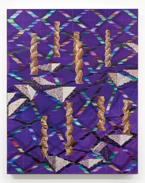 Vivien Zhang Spiral Columns (Paper Trails), 2020 Acrylic, chalk, and oil on canvas 95 x 75 cm 37 3/8 x 29 1/2 in