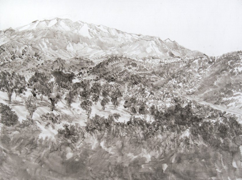 Daniele Genadry Familiar Mountains (Island), 2014 Acrylic on wood panel 45.7 x 61 cm. / 18 x 24 in.