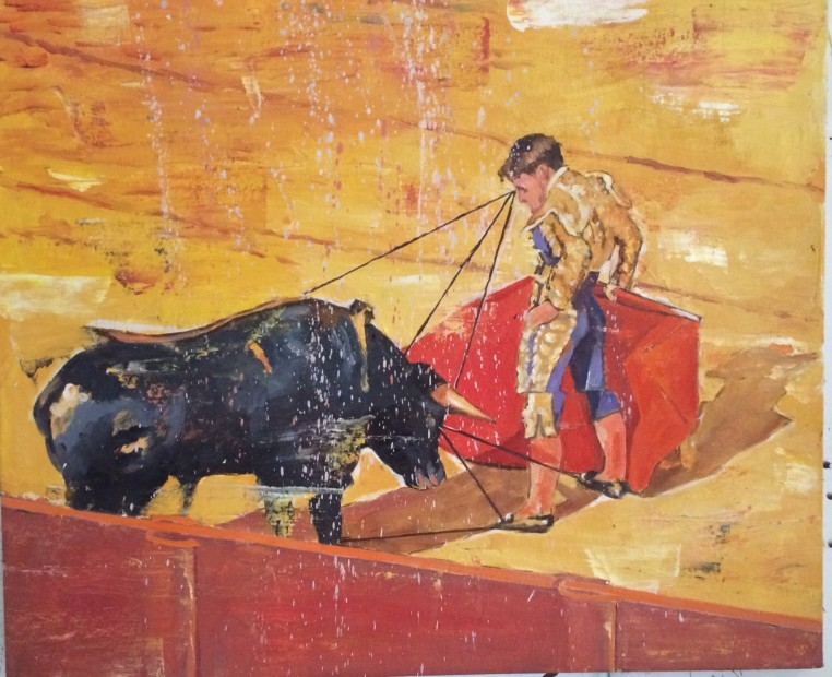 Nicky Nodjoumi Seville, Bull Fighting Series, 2014 Oil on canvas 50.8 x 61 cm. / 20 x 24 in.
