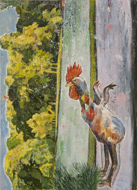 Nicky Nodjoumi A Rooster in Prospect Park in Brooklyn, 2016 Oil on canvas 182.9 x 132.1 cm. / 72 x 52 in.