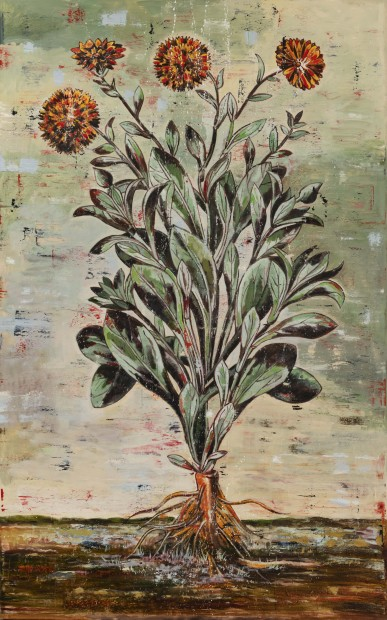 Nicky Nodjoumi Environmental Series - The Famaller, Double Marigold, 2018 Oil on canvas 244 x 153 cm. / 96 x 60 in.