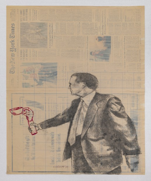 New York Times, Friday, June 12, 1998, 1998 Mixed Media on Newsprint 68 x 56 cm. / 26.8 x 22 in.