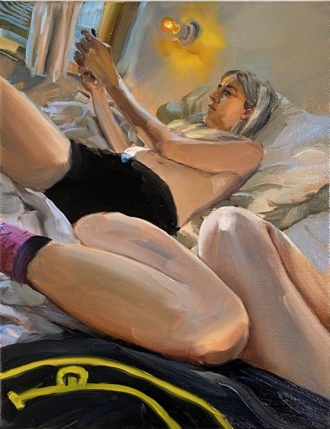Jenna Gribbon Doing Nothing, 2020 Oil on linen 36 x 28 cm. / 14 x 11 in. Courtesy Fredericks & Freiser and copyright of the artist