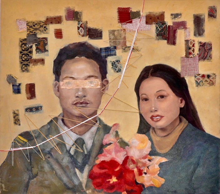 Xinan Yang Immoral Daughter, 2020 Oil, thread, and mixed mediums on canvas 90 x 102 cm. / 35 x 40 in.