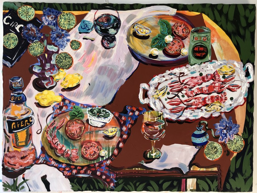 Kate Pincus-Whitney Feast in the Neon Jungle: Circe's Table, 2020 Acrylic and Polycolor on Canvas 76 x 102 cm. / 30 x 40 in. Courtesy Fredericks & Freiser and copyright of the artist
