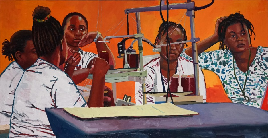 Raelis Vasquez Momentos entre Mujeres, 2020 Oil and acrylic on canvas 61 x 12 cm. / 24 x 48 in.