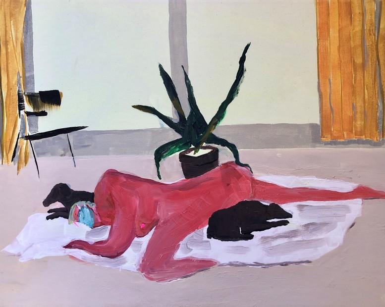 Grace Metzler Quarantine Dreamer, 2020 Oil on Canvas 40.5 x 51 cm. / 16 x 20 in. © Grace Metzler, Courtesy Yossi Milo Gallery, New York