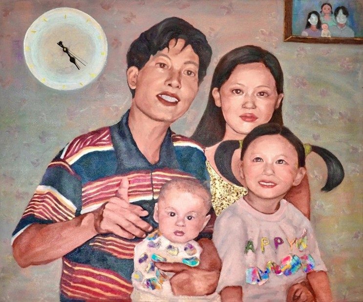 Xinan Yang She'll Always Be Your Little Girl 97/8/20, 2020 Oil, thread, and mixed mediums on canvas 105 x 120 cm. / 41 x 47 in.