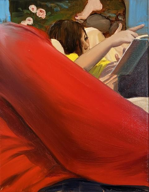 Jenna Gribbon Sweatpants Child, 2020 Oil on linen 36 x 28 cm. / 14 x 11 in. Courtesy Fredericks & Freiser and copyright of the artist