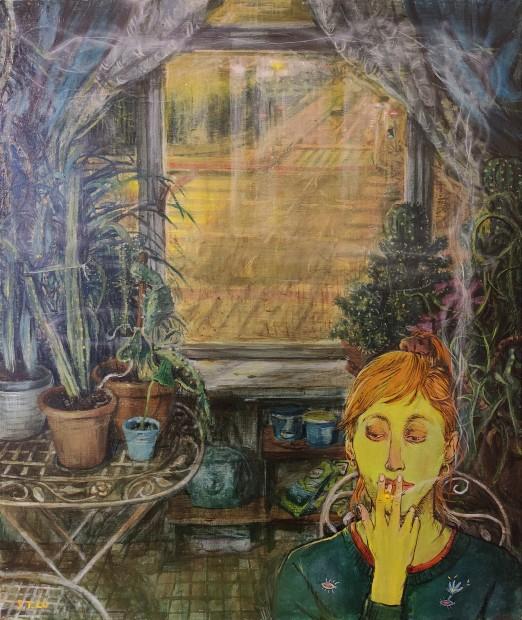 Stipan Tadic Tena Smoking, 2020 Oil on canvas 60 x 50 cm. / 24 x 20 in.