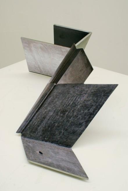 """<div class=""""artist""""><strong>Neil Ayling</strong></div> <div class=""""title""""><em>Kink</em>, 2011</div> <div class=""""medium"""">Steel, vinyl print, matte 2k clear coat</div> <div class=""""dimensions"""">40 x 46 x 51cm</div>"""