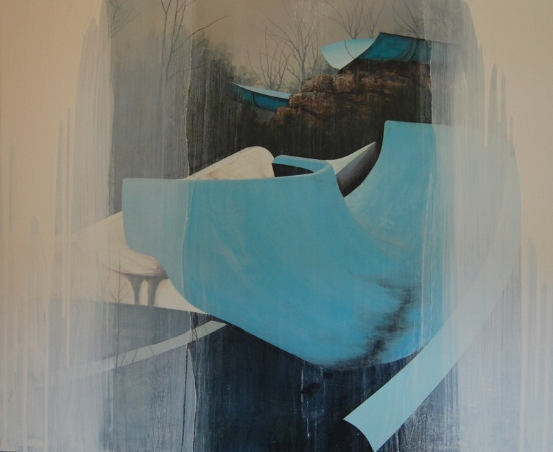"""<div class=""""artist""""><strong>Nicholas McLeod</strong></div> <div class=""""title""""><em>All Time Low</em>, 2011</div> <div class=""""medium"""">Acrylic and oil on board</div> <div class=""""dimensions"""">90 x 110 cm<br />35 3/8 x 43 1/4 in</div>"""