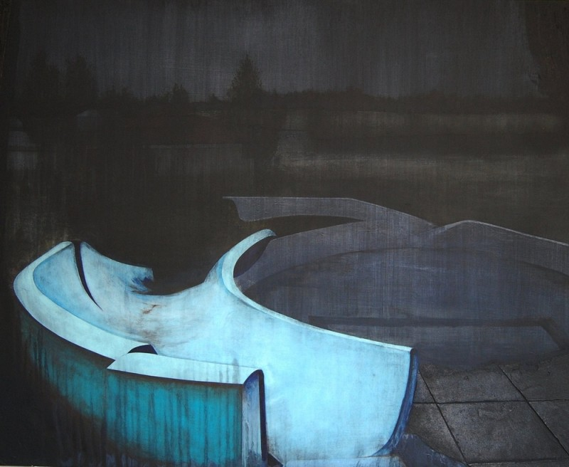 "<div class=""artist""><strong>Nicholas McLeod</strong></div> <div class=""title""><em>Slipping Away</em>, 2011</div> <div class=""medium"">Acrylic and oil on board</div> <div class=""dimensions"">90 x 110 cm<br />35 3/8 x 43 1/4 in</div>"