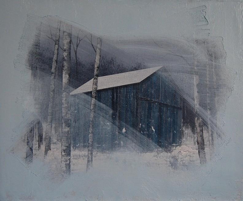 "<div class=""artist""><strong>Nicholas McLeod</strong></div> <div class=""title""><em>Untitled (Hut)</em>, 2011</div> <div class=""medium"">Acrylic and oil on linen</div> <div class=""dimensions"">30 x 36 cm<br />11 3/4 x 14 1/8 in</div>"