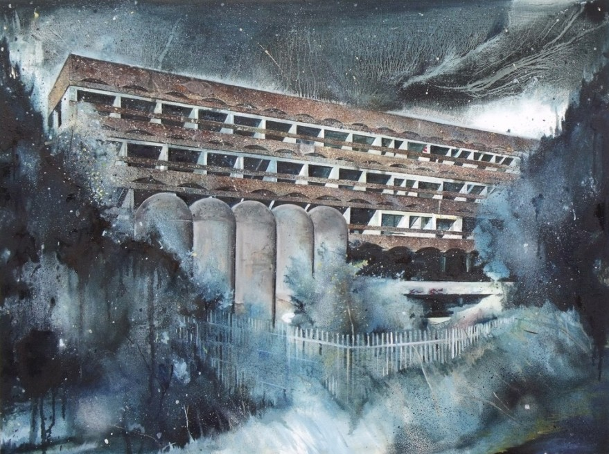"<div class=""artist""><strong>Ross M. Brown</strong></div> <div class=""title""><em>St Peter's Seminary - Wilderness, night</em>, 2010</div> <div class=""signed_and_dated"">Signed & Dated 2010</div> <div class=""medium"">Oil on Canvas</div> <div class=""dimensions"">80 x 60 cm<br />31 1/2 x 23 5/8 in</div>"