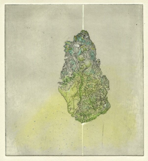 """<div class=""""artist""""><strong>Gemma Anderson</strong></div> <div class=""""title""""><em>Siderite</em>, 2012</div> <div class=""""medium"""">copper etching, hand painted with Japanese Inks, drawn from the Rashleigh Mineral Collection, Royal Cornwall Museum</div> <div class=""""dimensions"""">30 x 35 cm<br />11 3/4 x 13 3/4 in</div>"""