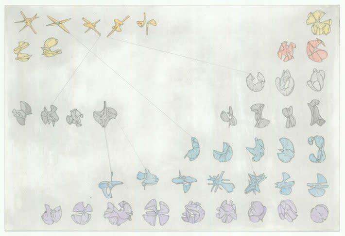 "<div class=""artist""><strong>Gemma Anderson</strong></div> <div class=""title""><em>Periodic Table of Calabi-Yau Manifolds</em>, 2012</div> <div class=""medium"">Copper etching, Watercolour</div> <div class=""dimensions"">50 x 70 cm<br />19 3/4 x 27 1/2 in</div>"