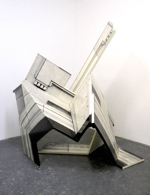 "<div class=""artist""><strong>Neil Ayling</strong></div> <div class=""title""><em>Vault</em>, 2013</div> <div class=""medium"">Plywood, Roofing Epoxy and Black and White Print</div> <div class=""dimensions"">170 x 185 x 145 cm</div>"