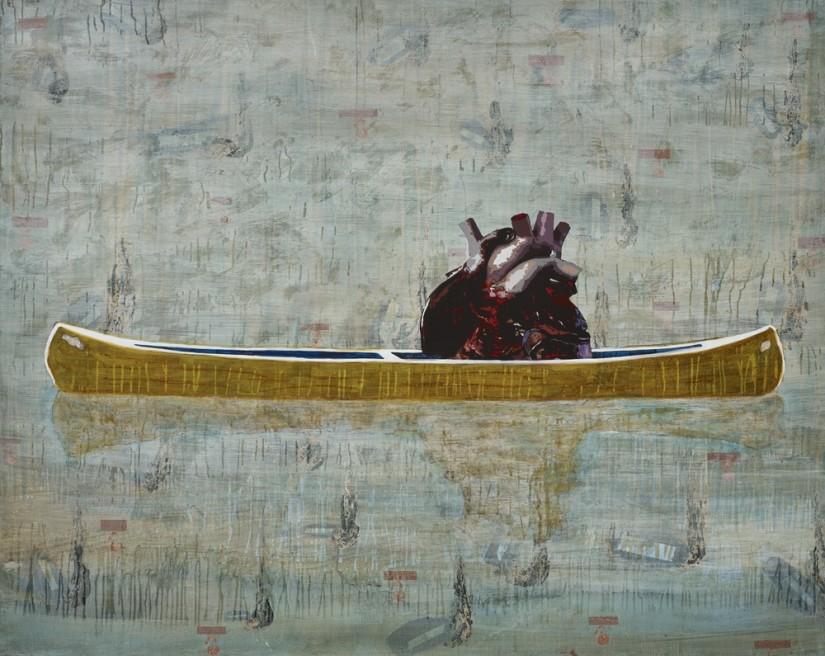 "<div class=""artist""><strong>Hani Zurob</strong></div> <div class=""title""><em>Excuse Me Peter Doig: This is ""Canoe-Sea""</em>, 2015</div> <div class=""medium"">Acrylic, tar, pigments and spray colours on canvas</div> <div class=""dimensions"">200 x 160 cm</div>"