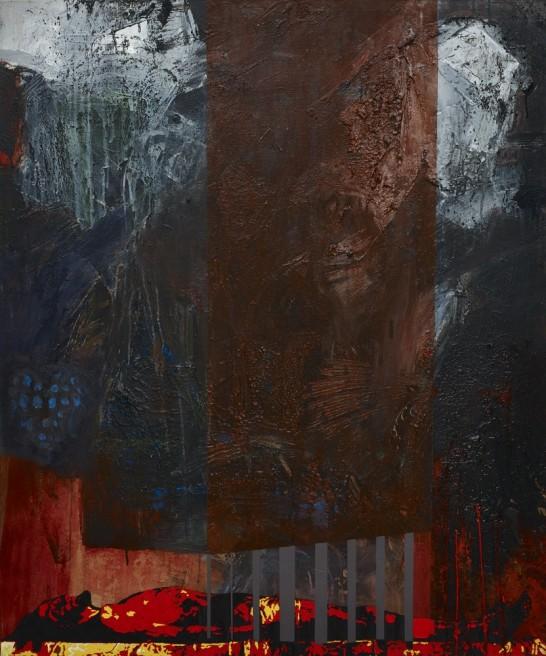 "<div class=""artist""><strong>Hani Zurob</strong></div> <div class=""title""><em>RIP Jesus, again</em>, 2015</div> <div class=""medium"">Acrylic, tar, pigments and spray colours on canvas</div> <div class=""dimensions"">100 x 120 cm</div>"