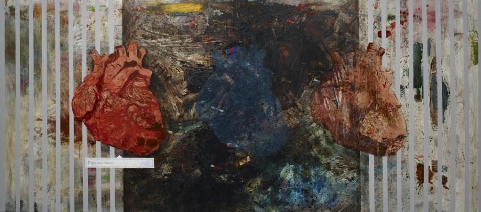 "<div class=""artist""><strong>Hani Zurob</strong></div> <div class=""title""><em>Type Any Name</em>, 2015</div> <div class=""medium"">Acrylic, tar, pigments and spray colours on canvas</div> <div class=""dimensions"">192 x 429 cm</div>"