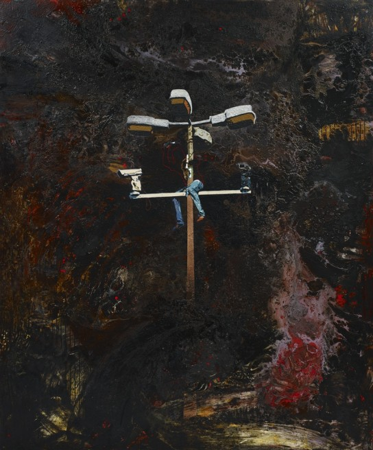 """<div class=""""artist""""><strong>Hani Zurob</strong></div> <div class=""""title"""">Untitled, 2015</div> <div class=""""medium"""">Acrylic, tar, pigments and spray colours on canvas</div> <div class=""""dimensions"""">240 x 200 cm</div>"""