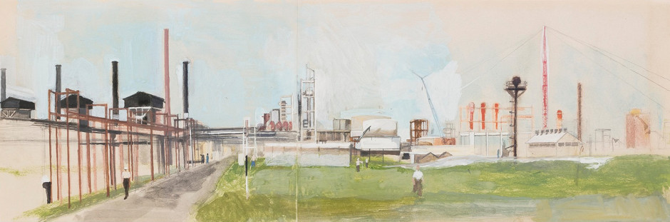 """<span class=""""artist""""><strong>Michael Andrews</strong></span>, <span class=""""title""""><em>Shell Chemicals, Carrington Plant, Cheshire</em>, 1953</span>"""