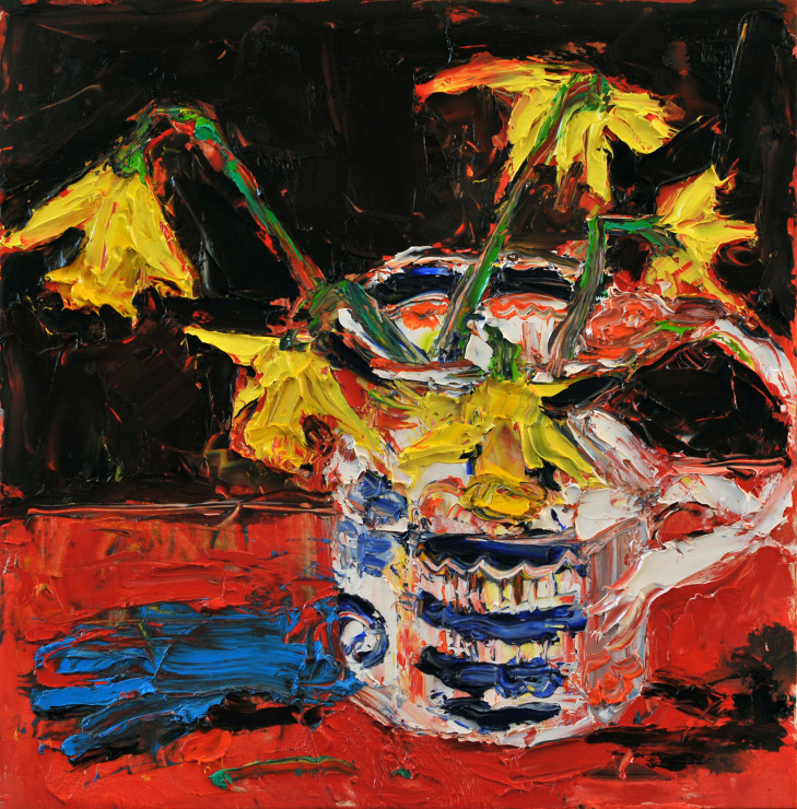 "<span class=""artist""><strong>Shani Rhys James</strong></span>, <span class=""title""><em>Daffodils and glove</em>, 2018</span>"