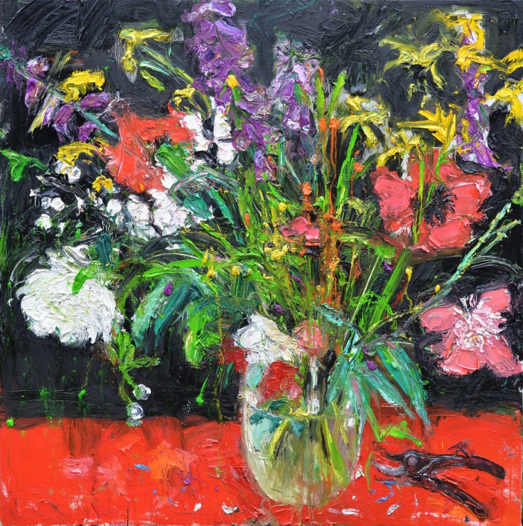"<span class=""artist""><strong>Shani Rhys James</strong></span>, <span class=""title""><em>Pink Popies and Secateurs</em>, 2018</span>"