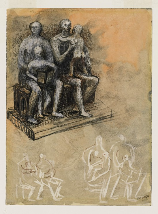 "<span class=""artist""><strong>Henry Moore</strong></span>, <span class=""title""><em>Family Groups</em>, c.1943-44</span>"