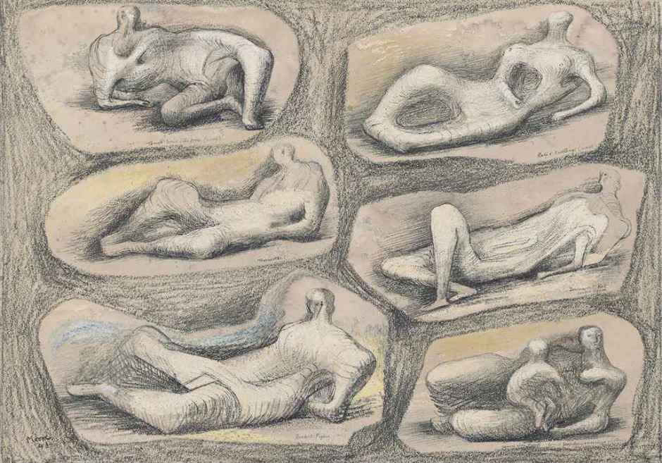 "<span class=""artist""><strong>Henry Moore</strong></span>, <span class=""title""><em>Reclining figures</em>, 1943</span>"