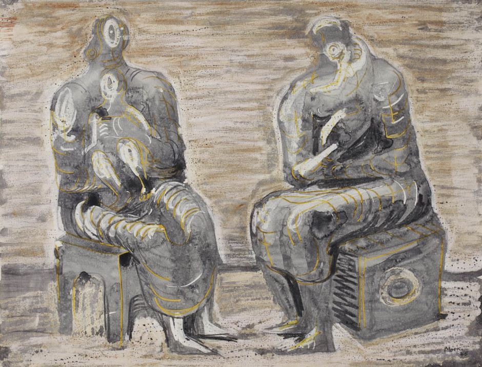 "<span class=""artist""><strong>Henry Moore</strong></span>, <span class=""title""><em>Two Women and Children</em>, 1945</span>"