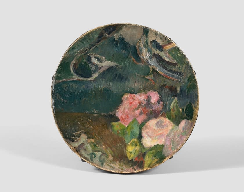 <span class=&#34;artist&#34;><strong>Paul Gauguin</strong></span>, <span class=&#34;title&#34;><em>Fleurs et oiseau, d&#233;cor de tambourin</em>, c.1884-1886</span>