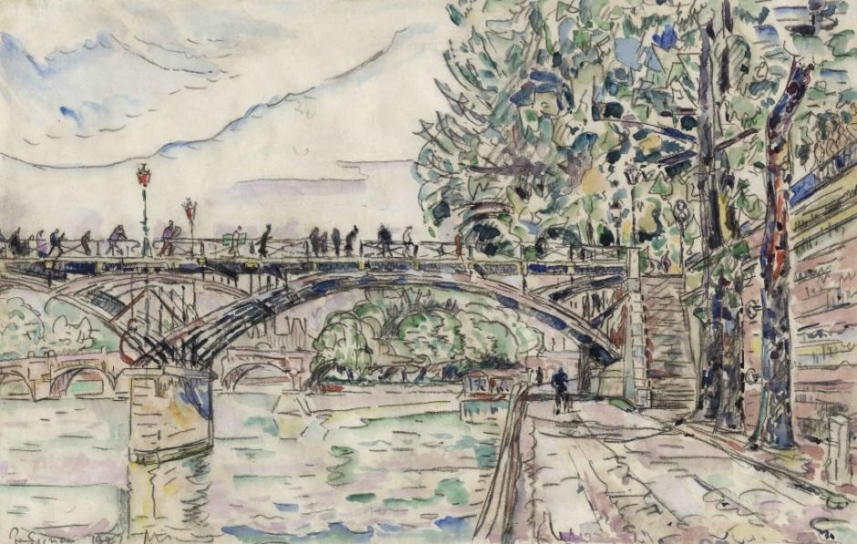 """<span class=""""artist""""><strong>Paul Signac</strong></span>, <span class=""""title""""><em>Paris. Le Pont des Arts</em>, 1927</span>"""