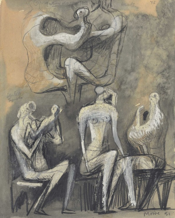 "<span class=""artist""><strong>Henry Moore</strong></span>, <span class=""title""><em>Seated Figures (recto and verso)</em>, 1950-51</span>"