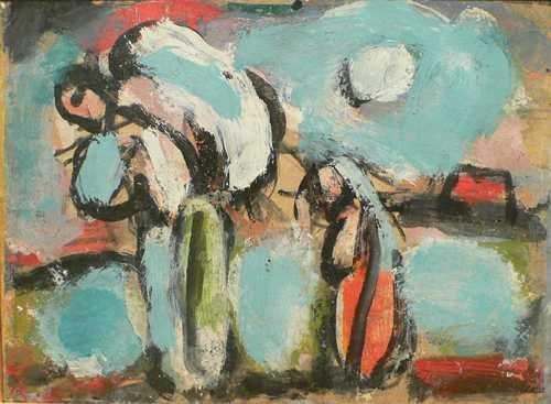 """<span class=""""artist""""><strong>Georges Rouault</strong></span>, <span class=""""title""""><em>Paysannes à la besace</em>, c.1910-19</span>"""