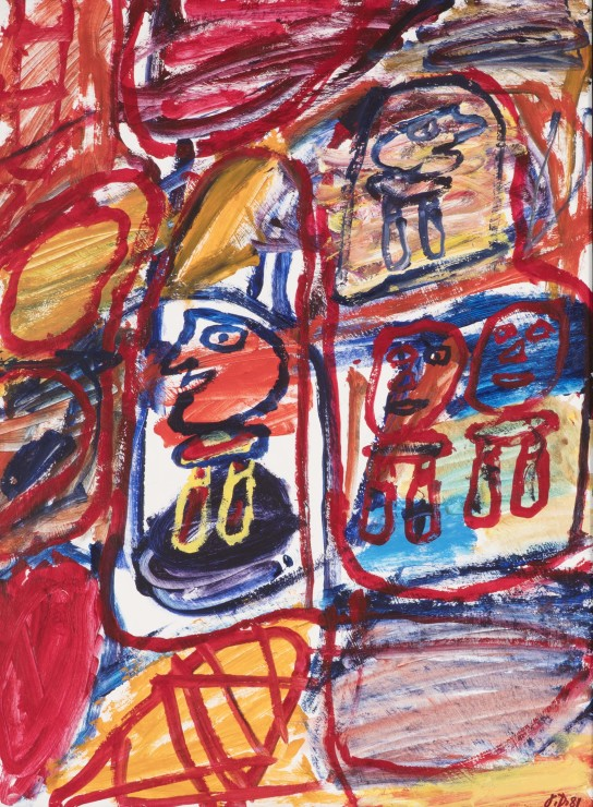 <span class=&#34;artist&#34;><strong>Jean Dubuffet</strong></span>, <span class=&#34;title&#34;><em>Site avec 4 personnages</em>, 20 September 1981</span>