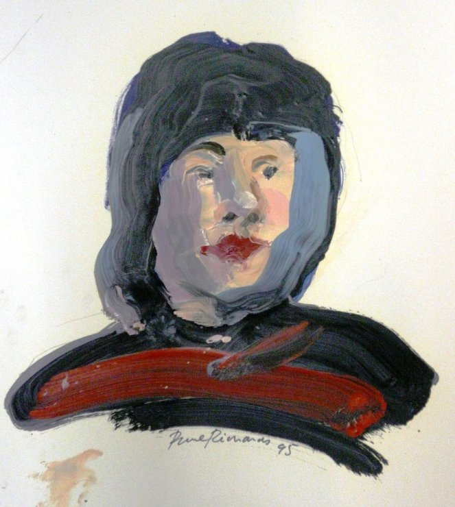 "<span class=""artist""><strong>Paul Richards</strong></span>, <span class=""title""><em>Portrait with hood</em>, 1995</span>"