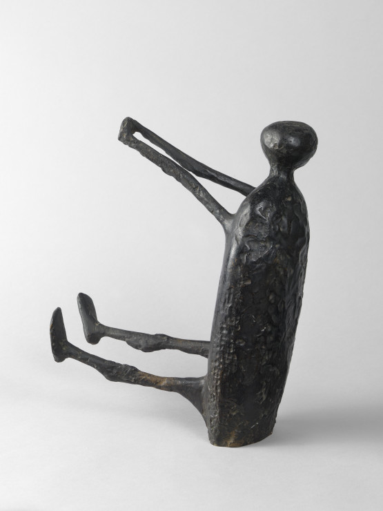 """<span class=""""artist""""><strong>Kenneth Armitage</strong></span>, <span class=""""title""""><em>Seated figure with Arms Raised (small version)</em>, 1957</span>"""