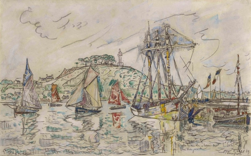 "<span class=""artist""><strong>Paul Signac</strong></span>, <span class=""title""><em>Le Brocéliande dans le Port de Paimpol</em>, 1st September 1929</span>"