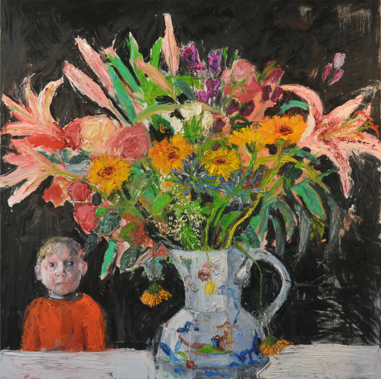 "<span class=""artist""><strong>Shani Rhys James</strong></span>, <span class=""title""><em>Boy and Bouquet</em>, 2017</span>"