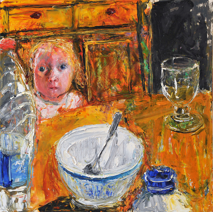 "<span class=""artist""><strong>Shani Rhys James</strong></span>, <span class=""title""><em>Boy with Bowl and Spoon</em>, 2017</span>"