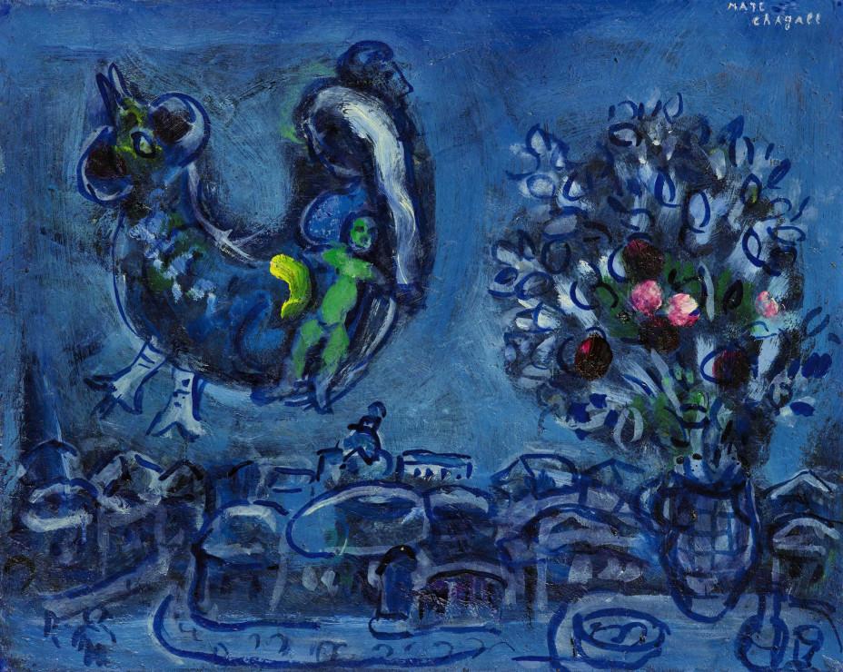 """<span class=""""artist""""><strong>Marc Chagall</strong></span>, <span class=""""title""""><em>Evocation du village natal ou Etude pour la femme-oiseau</em>, 1962</span>"""